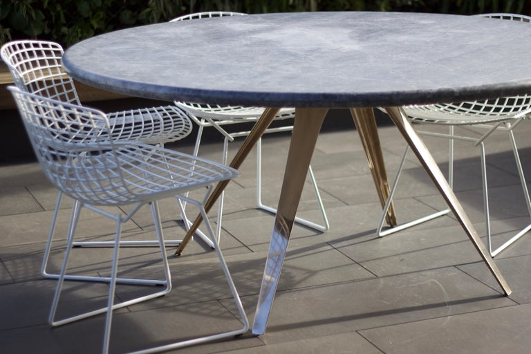 Post-Modern Barbera Spargere Round Table, Modern Solid Bronze Base with Stone Top For Sale
