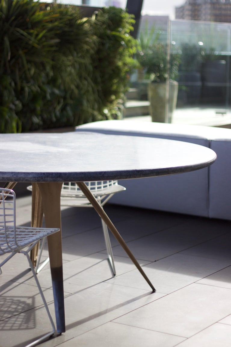 Australian Barbera Spargere Round Table, Modern Solid Bronze Base with Stone Top For Sale