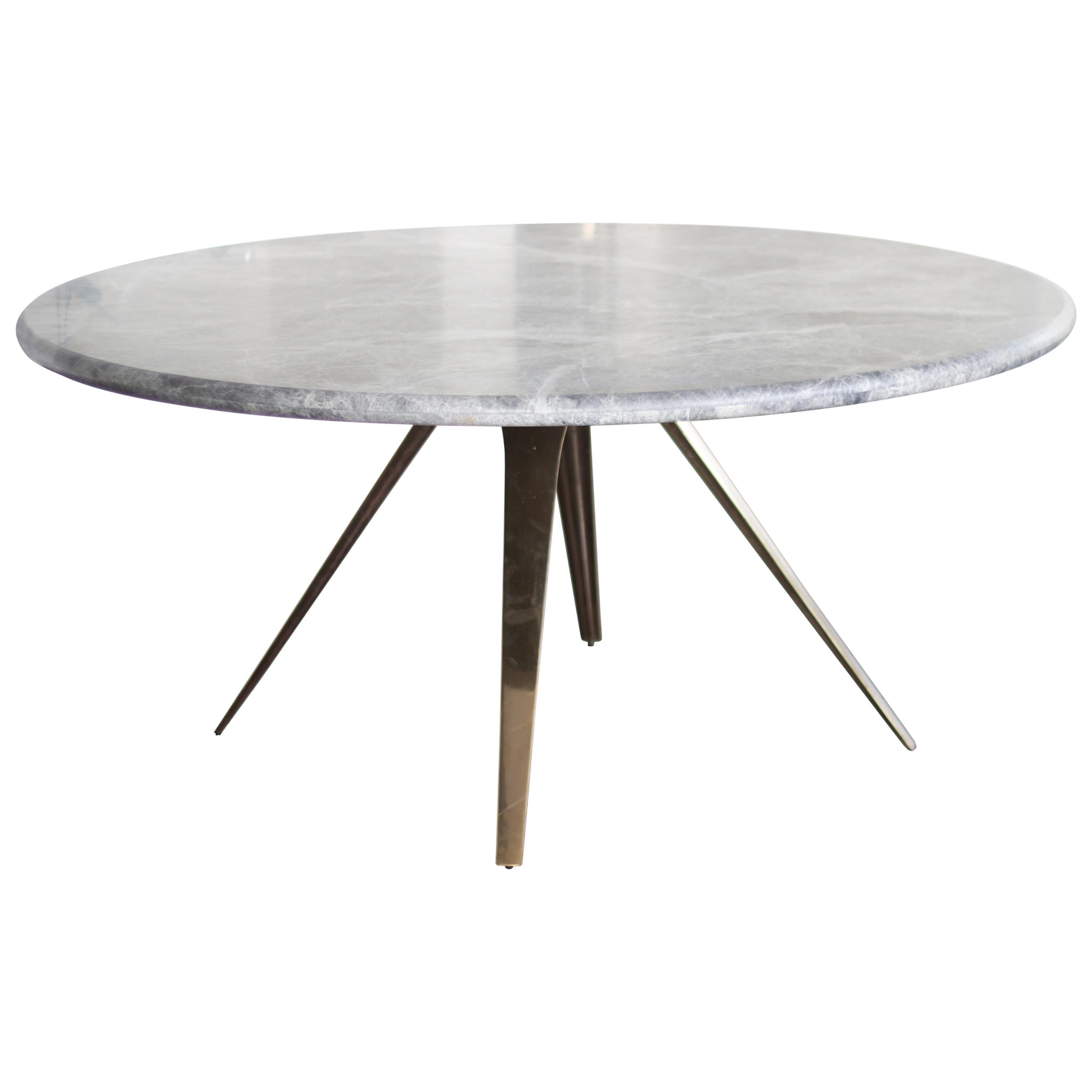 Barbera Spargere Round Table, Modern Solid Bronze Base with Stone Top