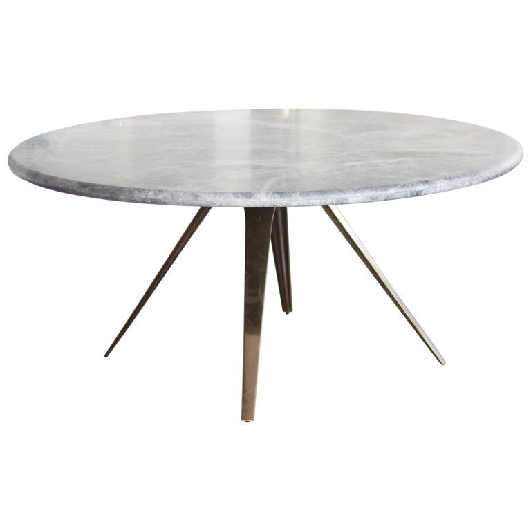 Barbera Spargere Round Table, Modern Solid Bronze Base with Stone Top For Sale
