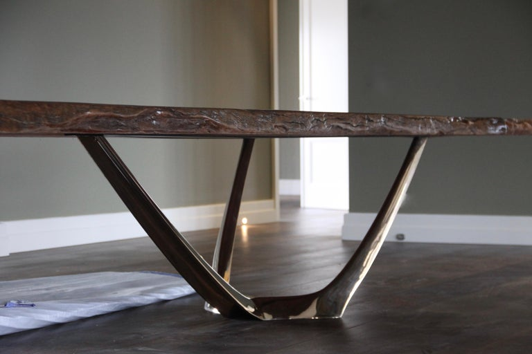 Barbera Wishbone Table Modern Solid Bronze Base Redgum Live Edge Top For Sale At 1stdibs