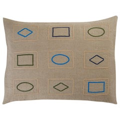 Barberton BG Hand Embroidered Beige Linen Pillow Cover