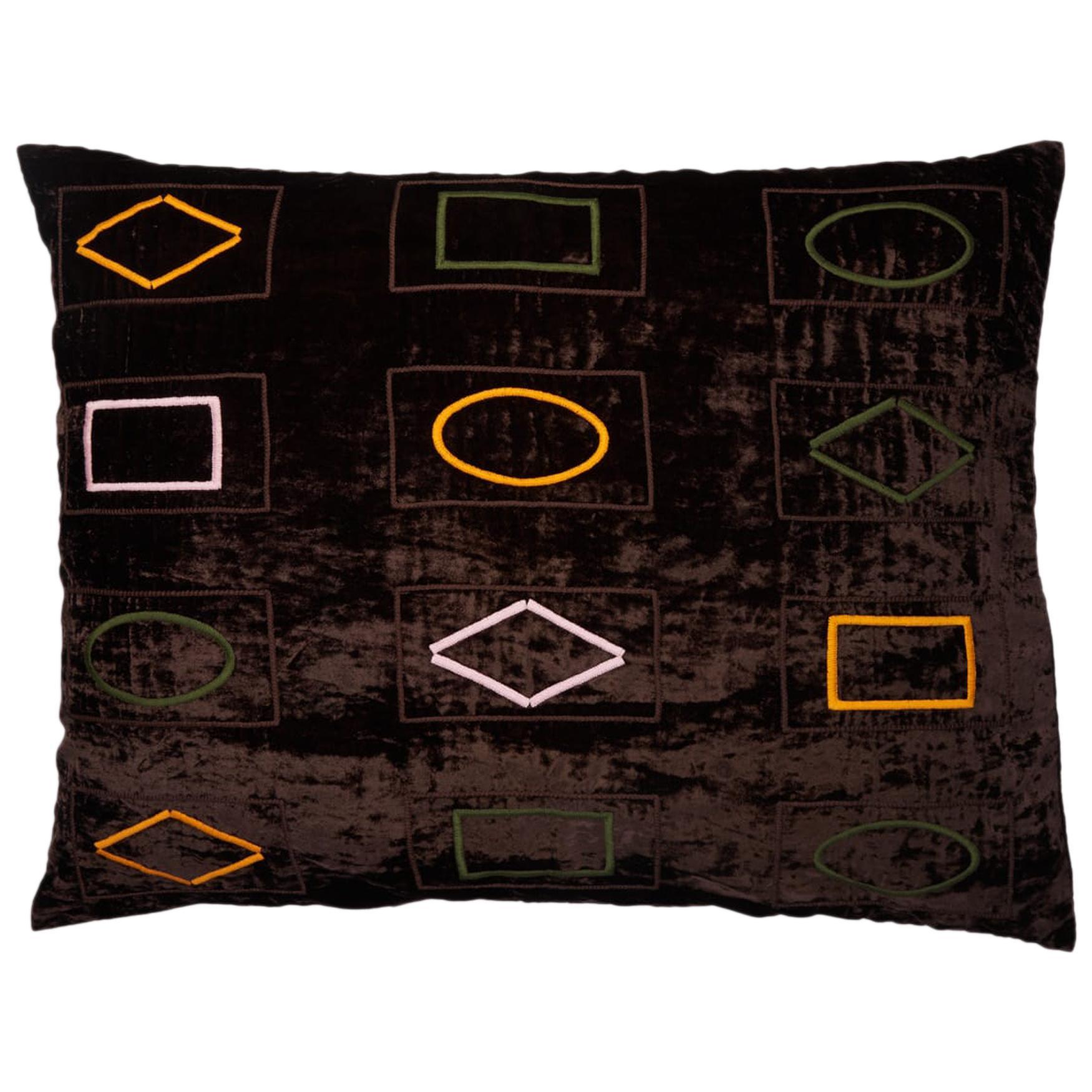 Barberton Hand Embroidered Brown Velvet Pillow Cover