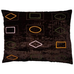Barberton Hand Embroidered Brown Velvet Pillow Cover