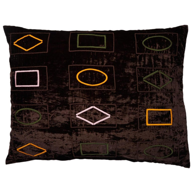 Barberton Hand Embroidered Brown Velvet Pillow Cover For Sale
