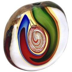 Barbini 1970s Modern Red Green Blue Gold Crystal Murano Art Glass Sculpture Vase
