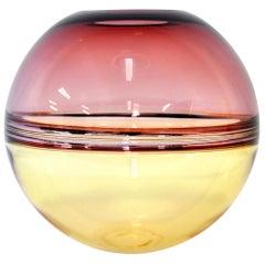 Barbini Amethyst and Amber Murano Glass Incalmo Sphere Vase