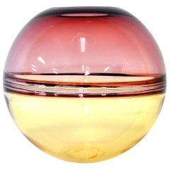 Barbini Amethyst and Amber Murano Glass Incalmo Sphere Vase
