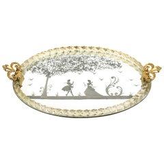 Barbini Italian Murano Mid-Century Modern Glass & Mirror Oval Tray