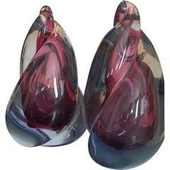 Barbini Italian Murano Sommerso Glass Modern Art Sculpture Bookends