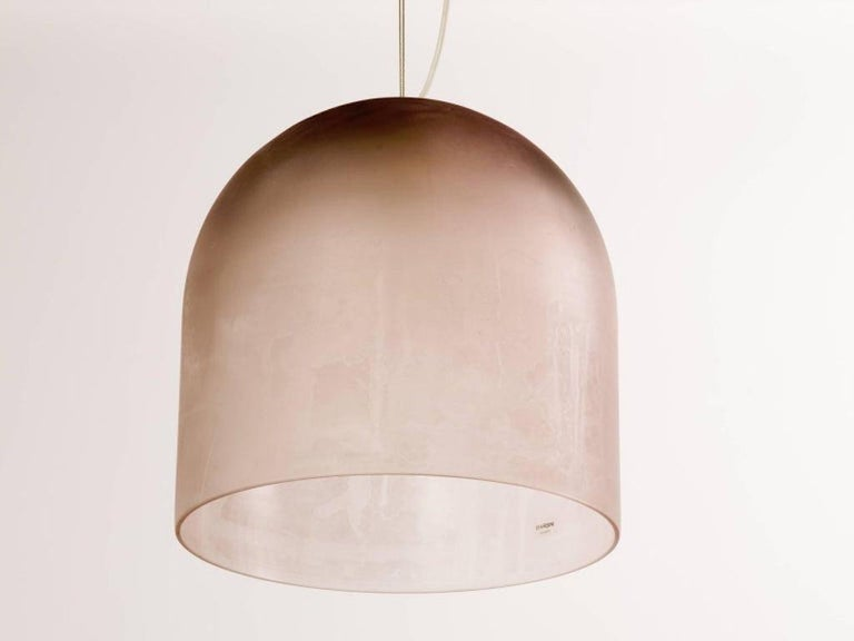 Mid-Century Modern Barbini Large Murano Glass Pendant Dome Chandelier in Mauve, Italy, c. 1980 For Sale