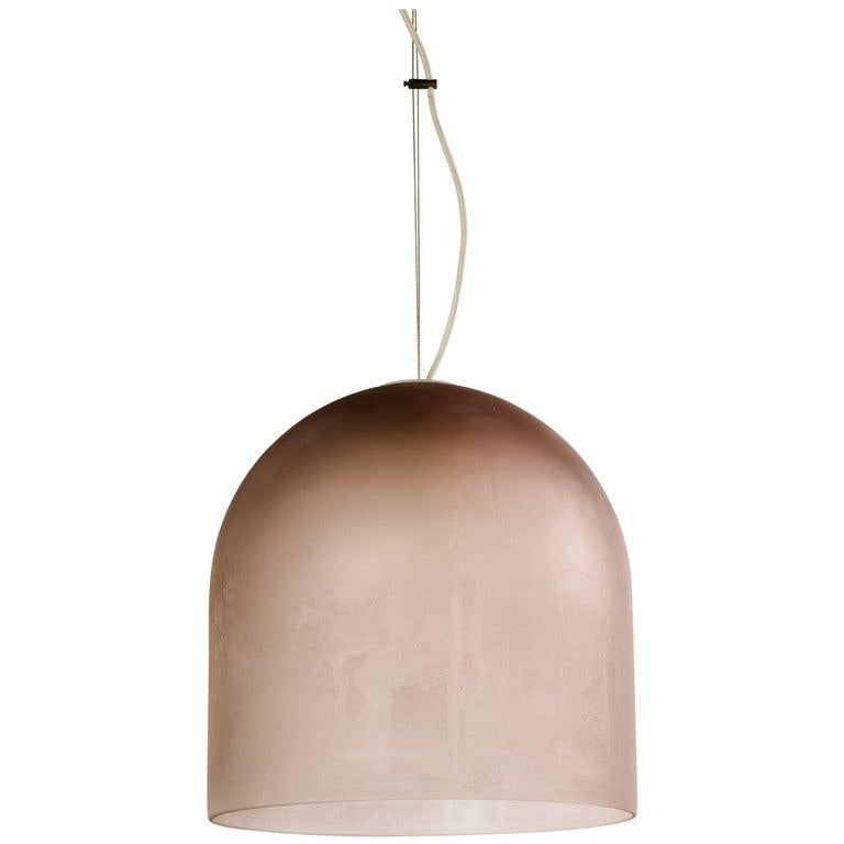 Barbini Large Murano Glass Pendant Dome Chandelier in Mauve, Italy, c. 1980 For Sale