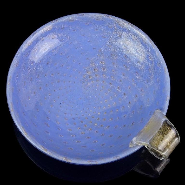Hand-Crafted Barbini Murano 1950s Blue Gold Flecks Italian Art Glass Midcentury Dish Bowl For Sale