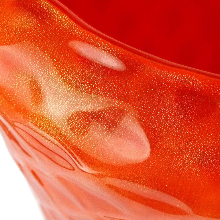 Mid-Century Modern Barbini Murano 1950s Orange Gold Flecks Quilted Italian Art Glass Flower Vase For Sale