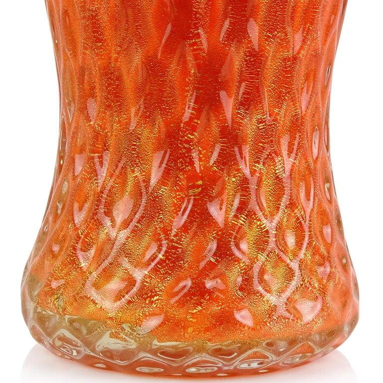 20th Century Barbini Murano 1950s Orange Gold Flecks Quilted Italian Art Glass Flower Vase For Sale