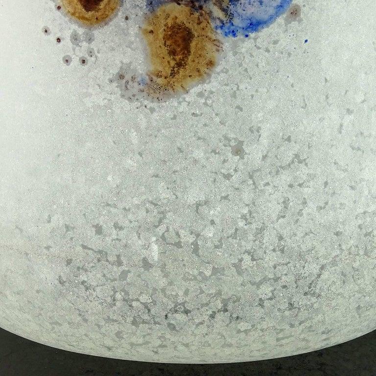 Mid-20th Century Barbini Murano Abstract Design Scavo Texture Italian Art Glass Flower Vase For Sale