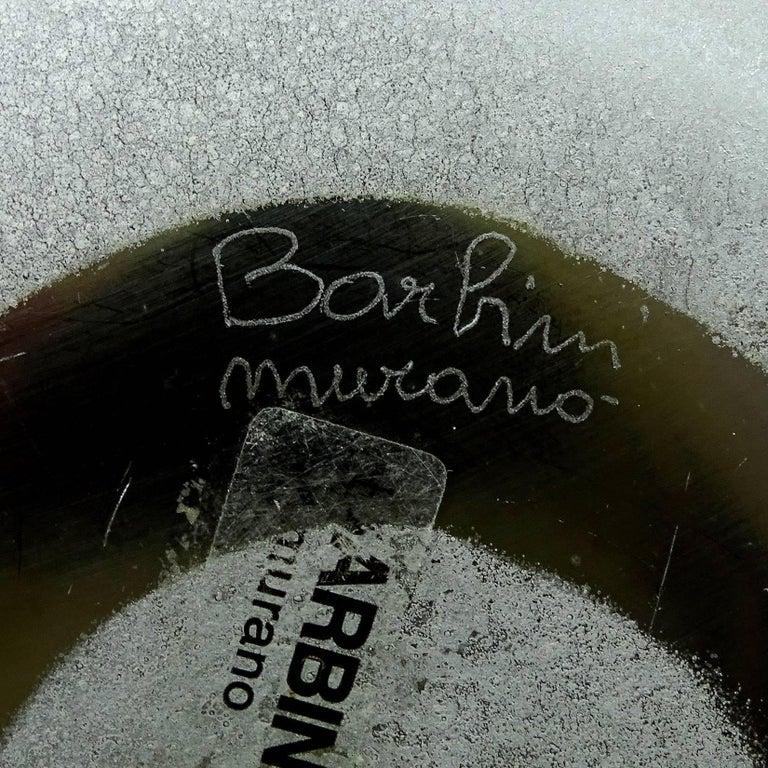 Barbini Murano Abstract Design Scavo Texture Italian Art Glass Flower Vase For Sale 2