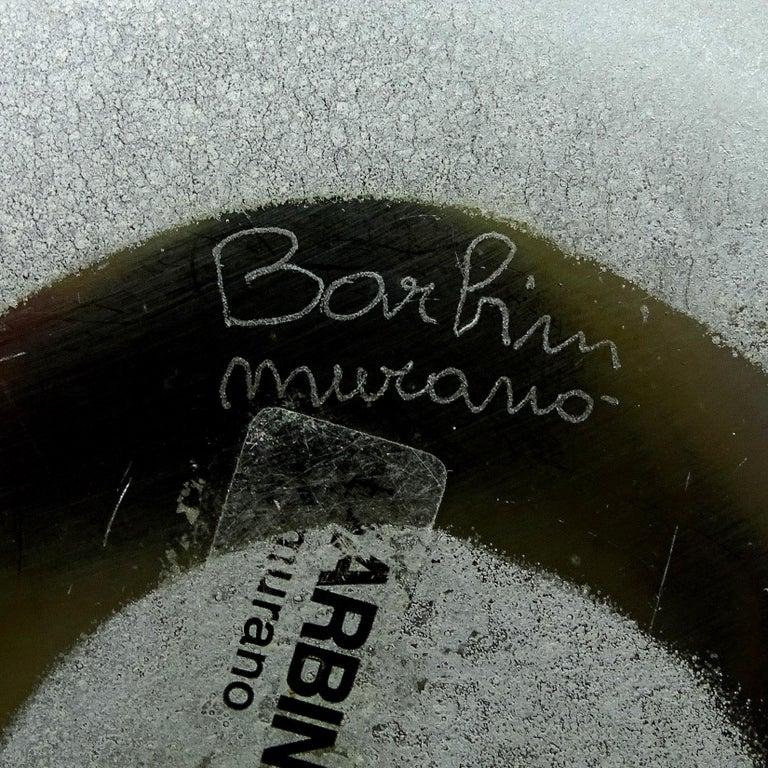 Barbini Murano Abstract Design Scavo Texture Italian Art Glass Flower Vase For Sale 1