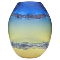 Barbini Murano Abstract Design Scavo Texture Italian Art Glass Flower Vase