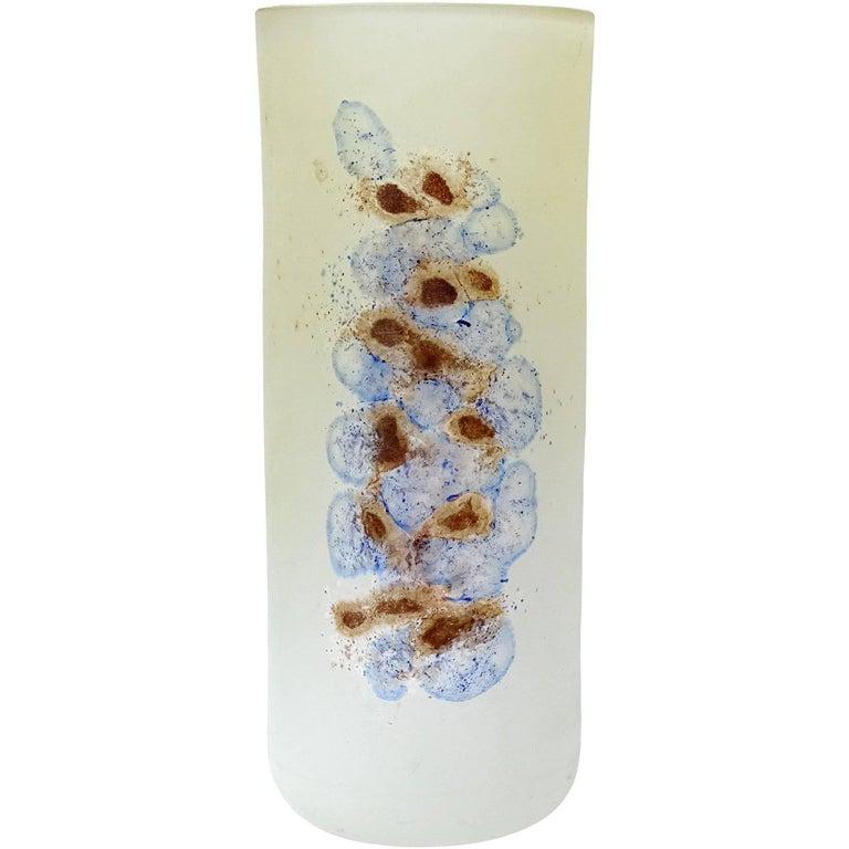 20th Century Barbini Murano Blue Abstract Design Scavo Texture Italian Art Glass Flower Vase For Sale