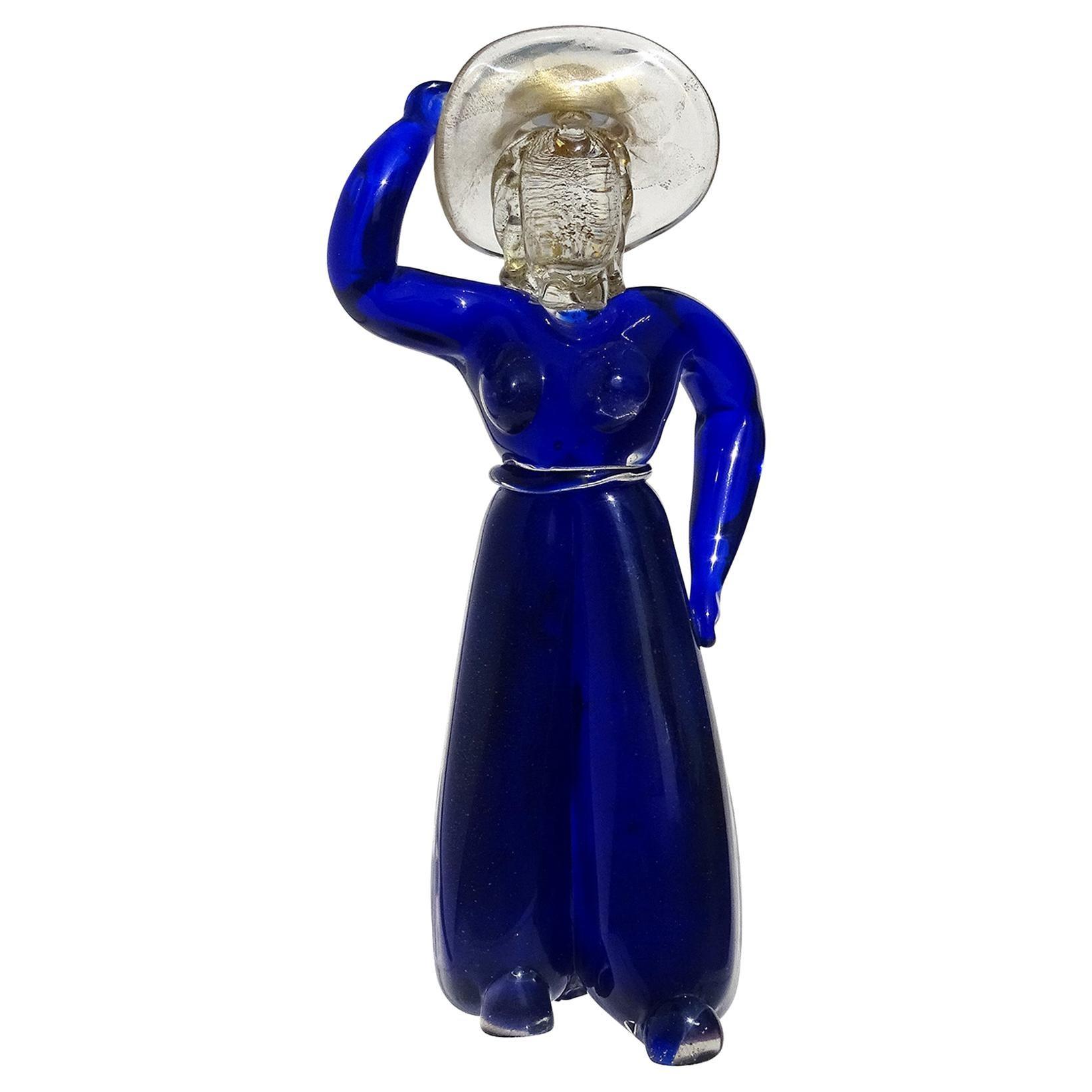 Barbini Murano Blue Gold Woman with Sun Hat Italian Art Glass Figure Sculpture