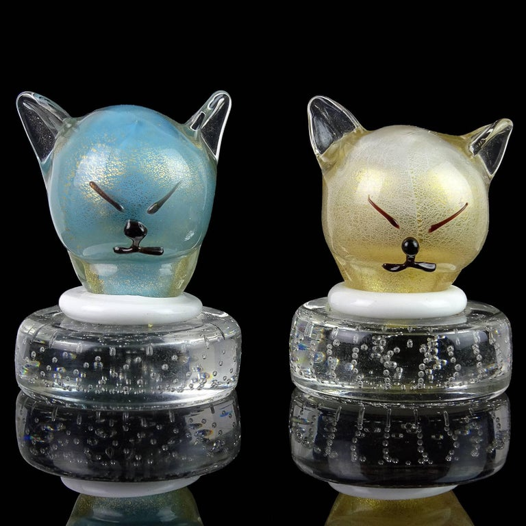 Mid-Century Modern Barbini Murano Blue White Gold Flecks Italian Art Glass Kitty Cat Paperweights For Sale