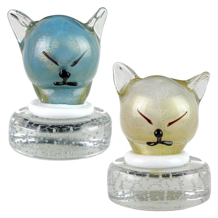 Barbini Murano Blue White Gold Flecks Italian Art Glass Kitty Cat Paperweights For Sale