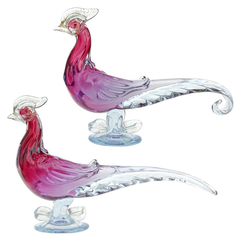 Barbini Murano Cranberry Purple Blue Sommerso Italian Art Glass Bird Sculptures For Sale