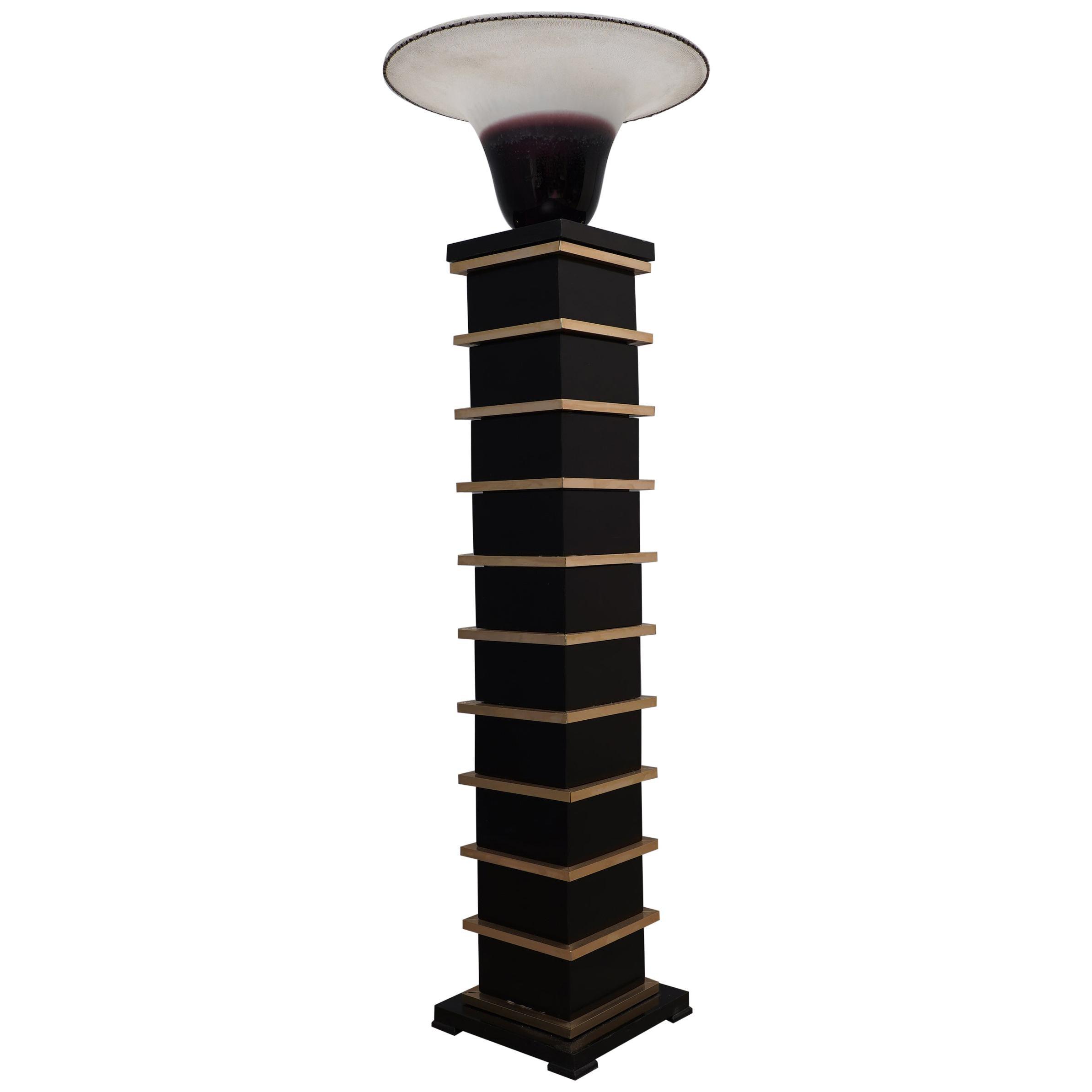 Barbini Murano Glass and Brass Midcentury Floor Lamp, 1950