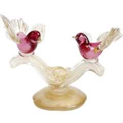 Barbini Murano Gold Flecks Cranberry Pink Italian Art Glass Birds Sculpture