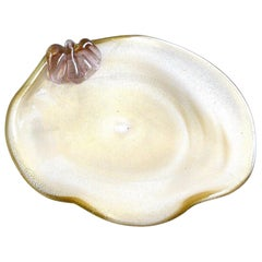 Barbini Murano Gold Flecks Italian Art Glass Conch Seashell Centerpiece Bowl