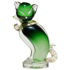 Barbini Murano Green Gold Flecks Italian Art Glass Kitty Cat Sculpture Figurine