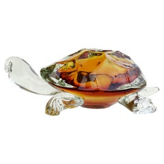 Barbini Murano Oggetti Golden Amber Sommerso Italian Art Glass Turtle Sculpture