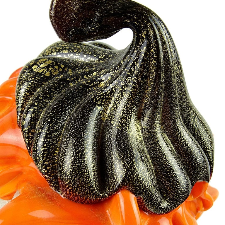 Hand-Crafted Barbini Murano Orange Black Gold Flecks Italian Art Glass Elf Paperweights For Sale