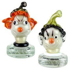 Barbini Murano Orange Black Gold Flecks Italian Art Glass Elf Paperweights