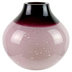 Barbini Murano Purple Incalmo Rim Moonscape Italian Art Glass Flower Vase