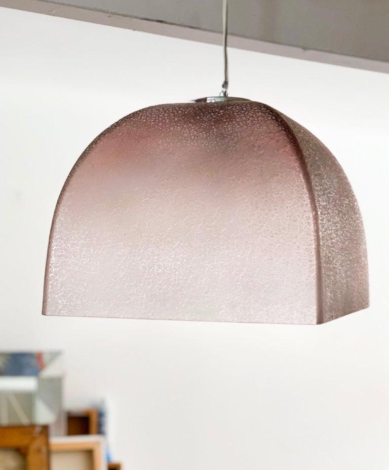 Mid-Century Modern Barbini Murano Scavo Art Glass Midcentury Squared Blush Bell Pendant, 1960s For Sale