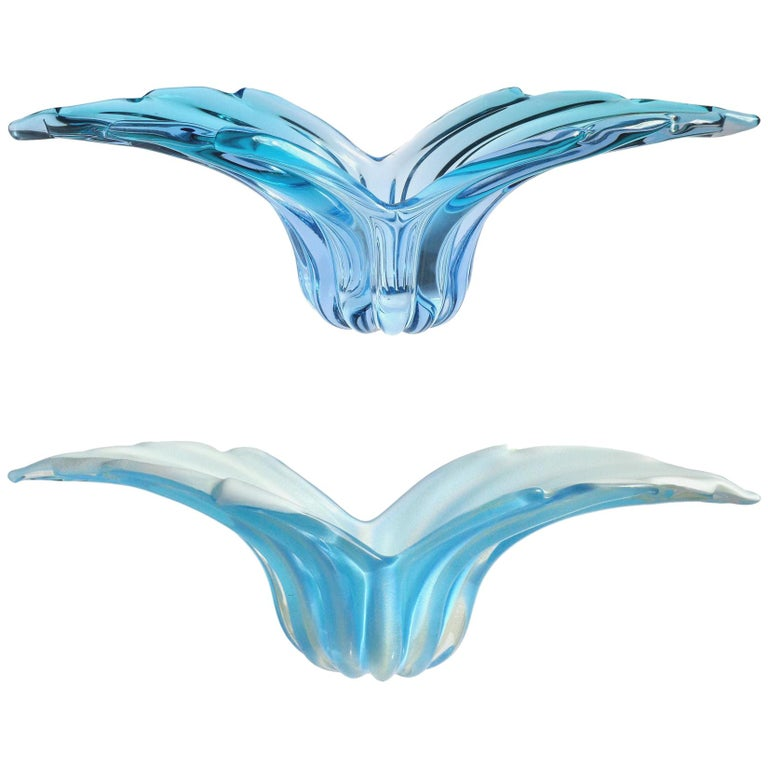 Barbini Murano Sommerso and Solid Gold Blue Hues Italian Art Glass Wing Bowls For Sale