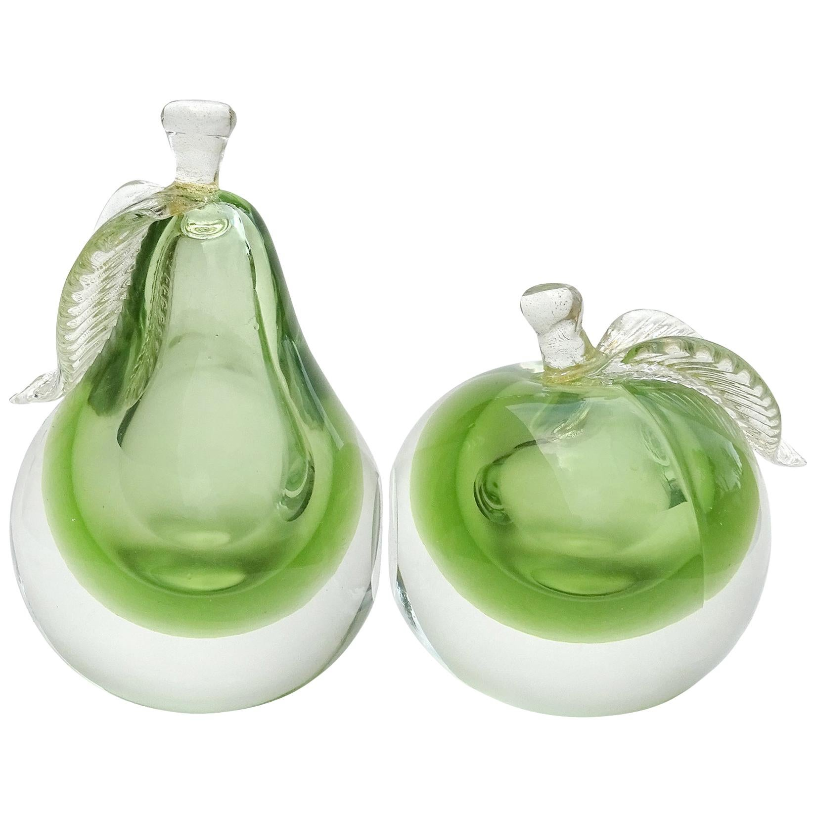 Barbini Murano Sommerso Apple Green Gold Flecks Italian Art Glass Fruit Bookends