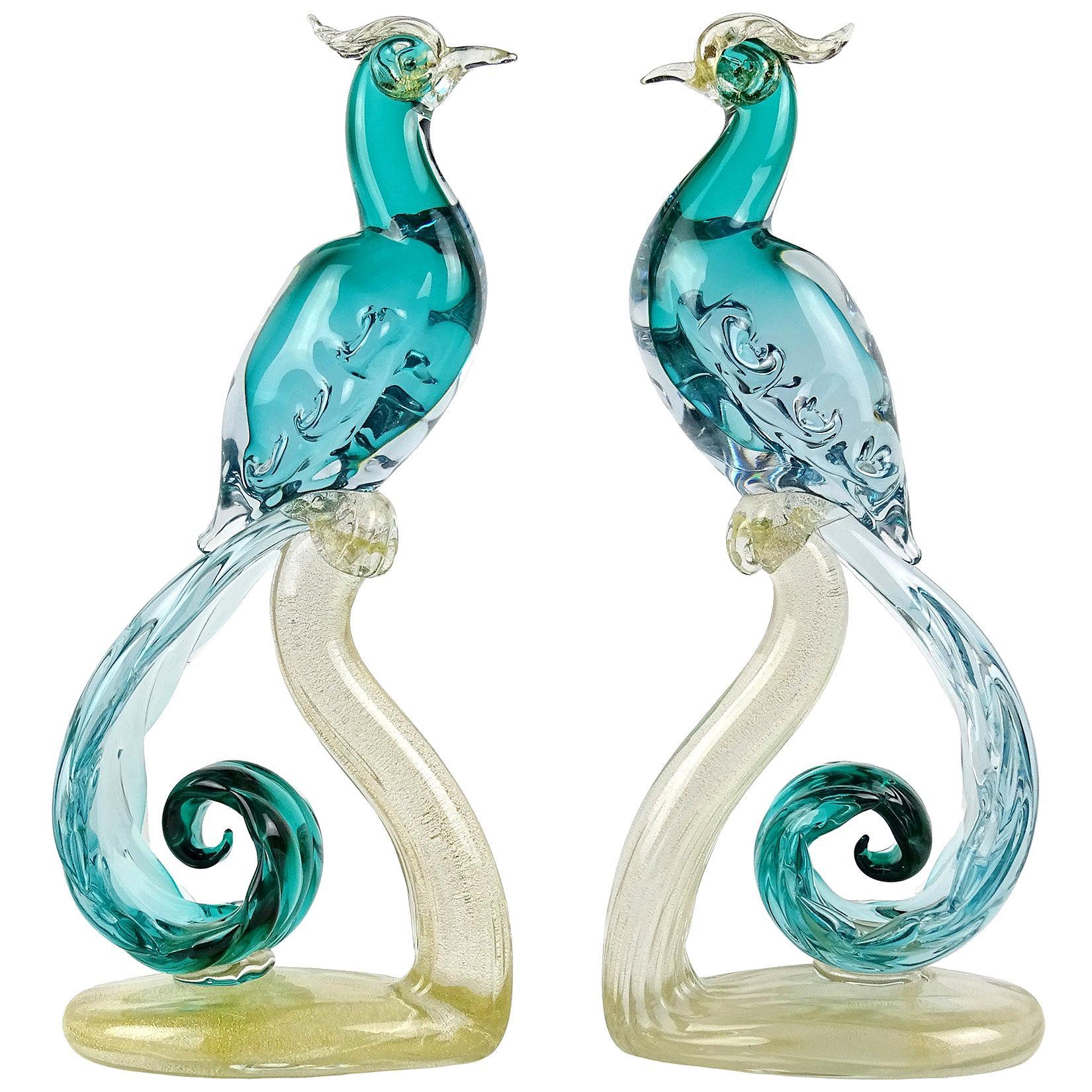 Barbini Murano Sommerso Aqua Gold Italian Art Glass Pheasant Bird Sculpture Set