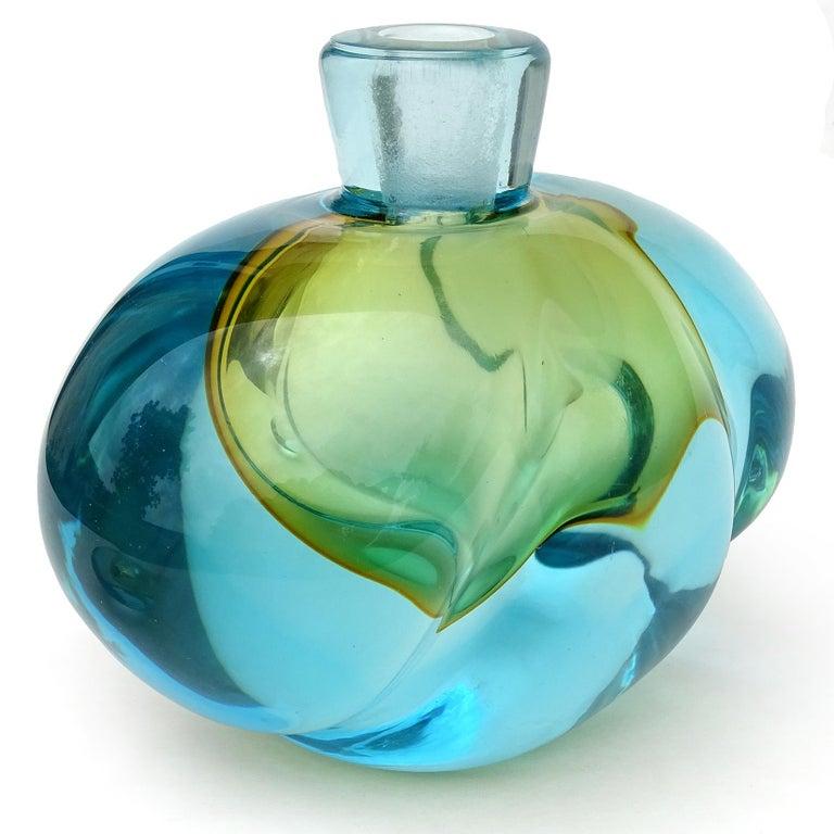 Mid-Century Modern Barbini Murano Sommerso Blue Orange Italian Art Glass Perfume Cologne Bottle For Sale