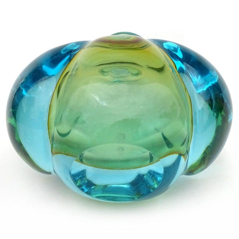 Barbini Murano Sommerso Blue Orange Italian Art Glass Perfume Cologne Bottle For Sale 1
