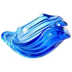 Barbini Murano Sommerso Cobalt Blue Italian Art Glass Seashell Sculptures Bowl