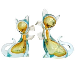 Barbini Murano Sommerso Golden Yellow Italian Art Glass Kitty Cat Figurines