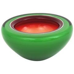 Barbini Murano Sommerso Green, Garnet and White Art Glass Geode Bowl / Ashtray
