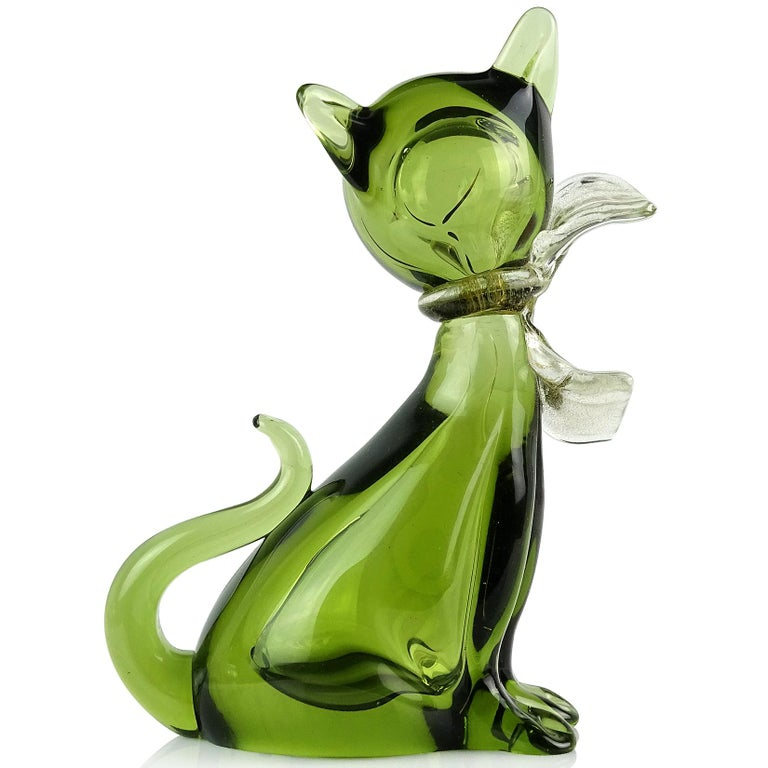 Mid-Century Modern Barbini Murano Sommerso Green Gold Flecks Italian Art Glass Kitty Cat Figurine For Sale