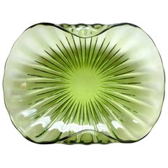Barbini Murano Sommerso Green Ribbed Body Italian Art Glass Centerpiece Bowl