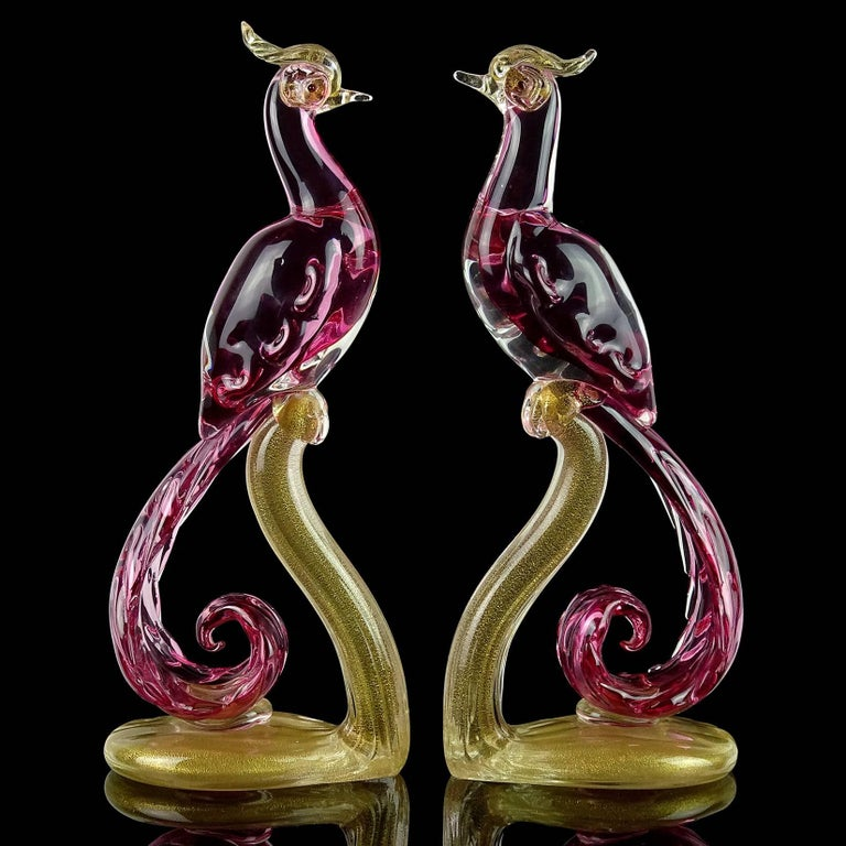 "Gorgeous pair of Murano hand blown Sommerso pink and gold flecks Italian art glass pheasants / birds sculptures. Documented to designer Alfredo Barbini. The pair is beautifully sculpted and profusely filled with gold leaf. Tallest measures 12"" tall"