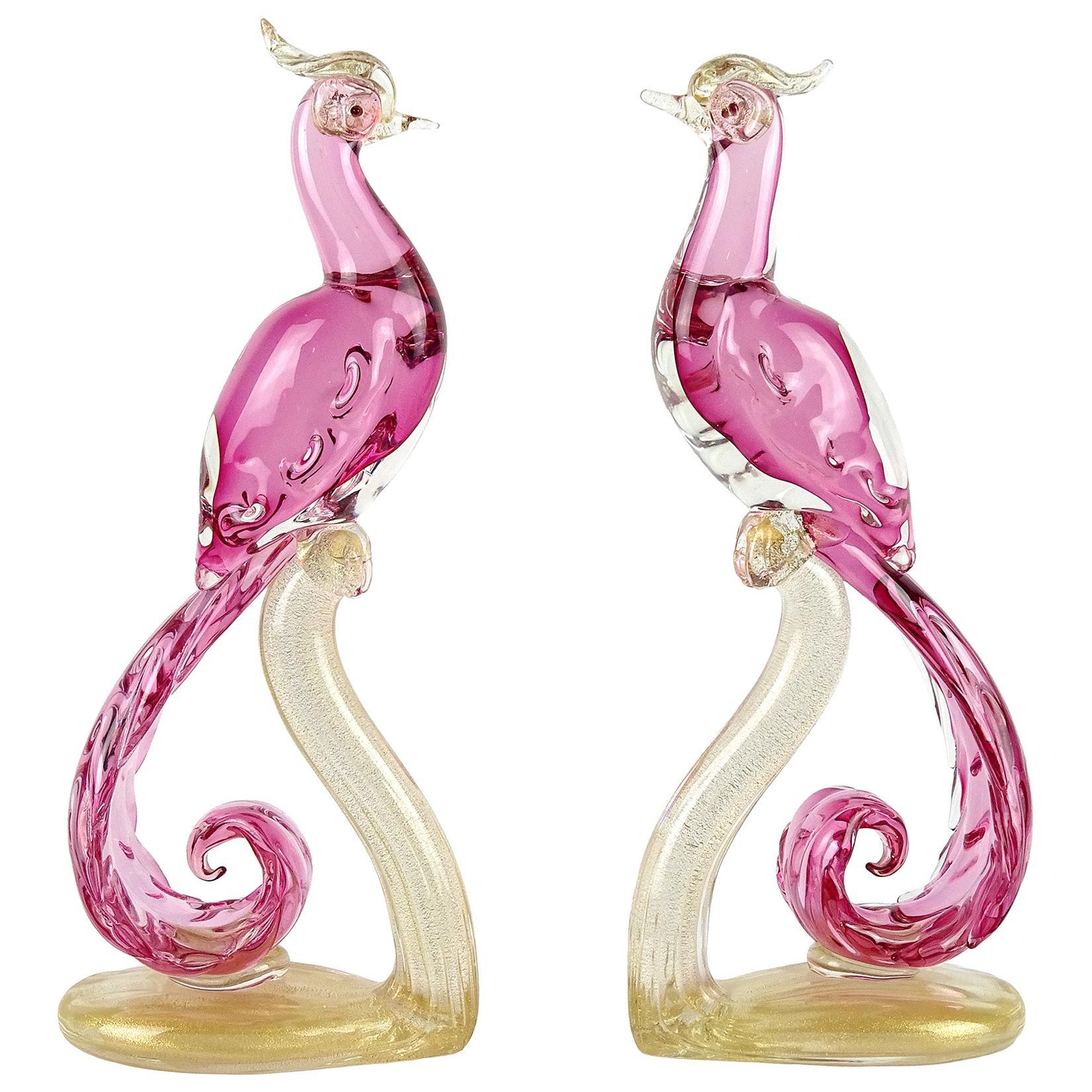 Barbini Murano Sommerso Pink Gold Italian Art Glass Pheasant Bird Sculpture Set