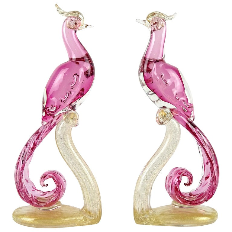 Barbini Murano Sommerso Pink Gold Italian Art Glass Pheasant Bird Sculpture Set For Sale